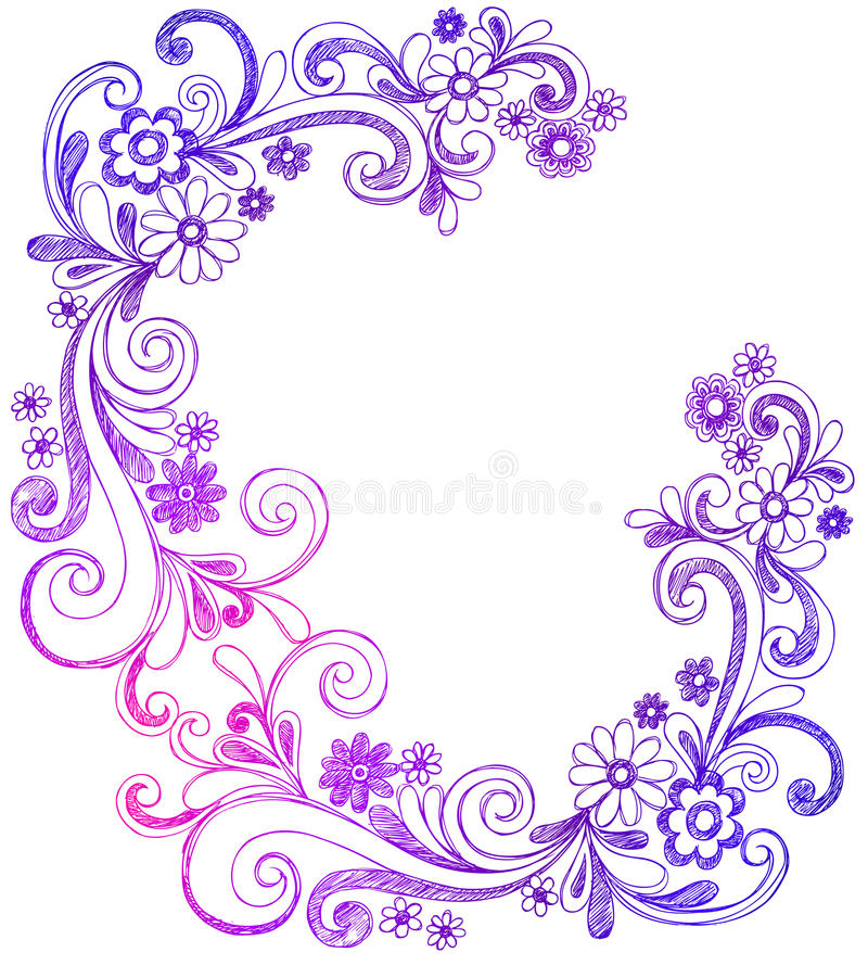 Flowers and Swirls Doodle Vector Border stock illustration