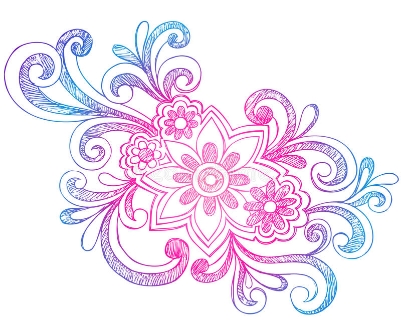 Flowers and Swirls Sketchy Notebook Doodles royalty free illustration