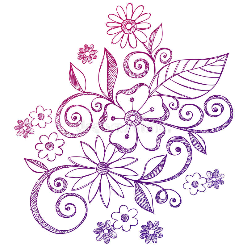 Flowers and Swirls Sketchy Notebook Doodles vector illustration