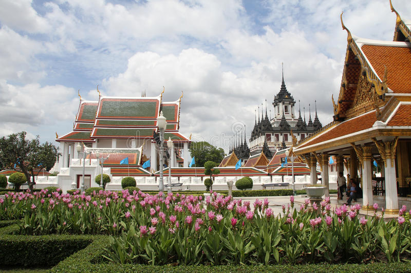Flowers and temples royalty free stock images