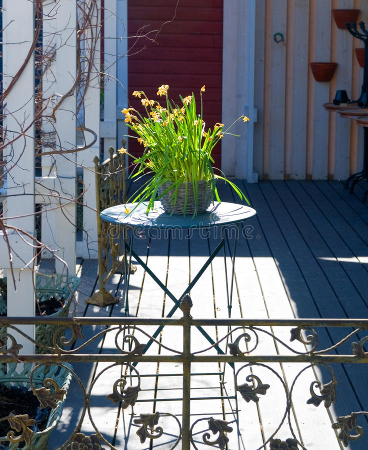 Download Flowers on the terrace. stock image. Image of basket - 14031017