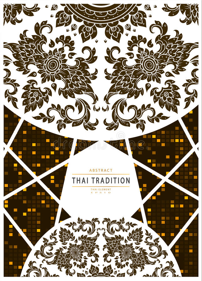 Flowers thai tradition background. Vector stock illustration