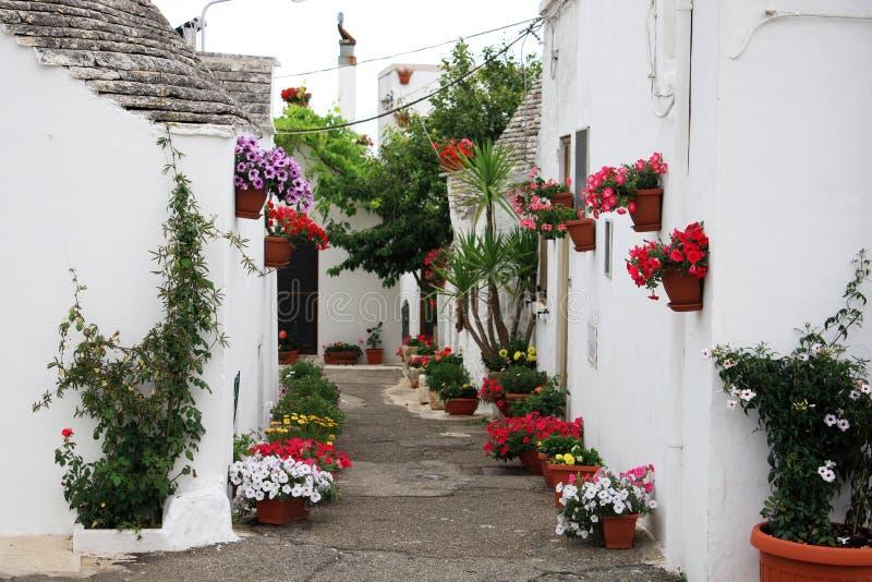 Flowers to Alberobello. Flowered alley between Trulli of alberobello stock photos