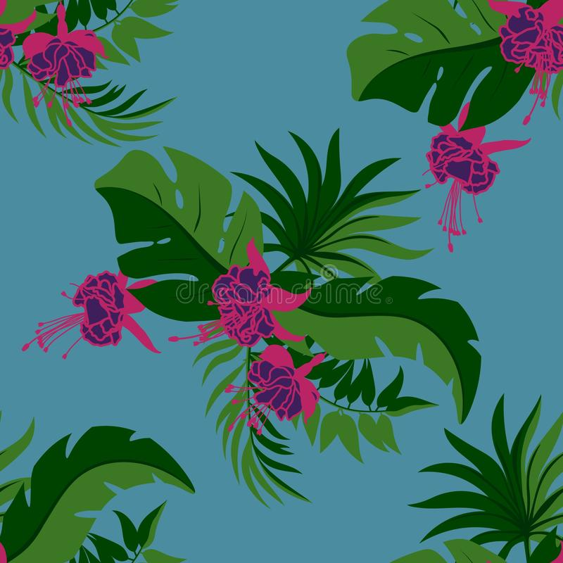 Flowers. Tropical palm leaves, jungle leaves seamless vector floral pattern background.  royalty free illustration