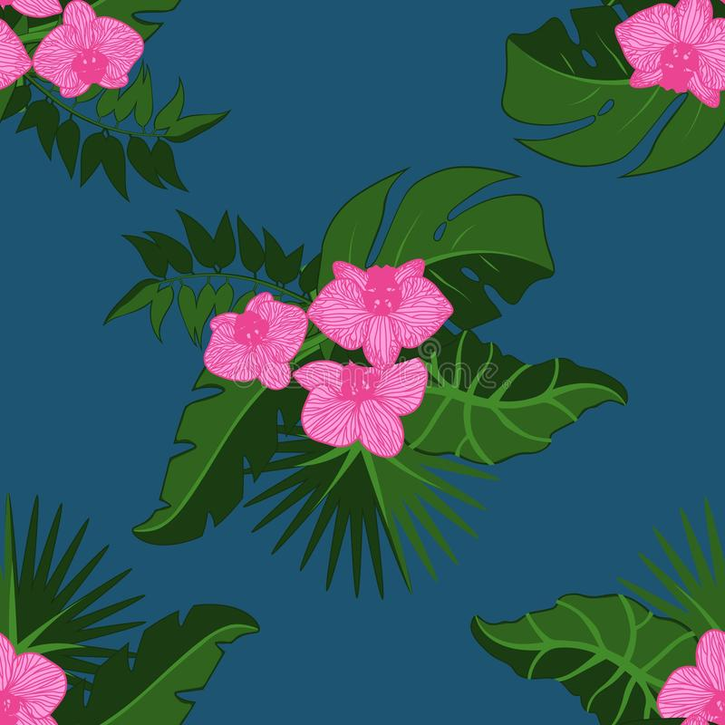 Flowers. Tropical palm leaves, jungle leaves seamless vector floral pattern background.  vector illustration