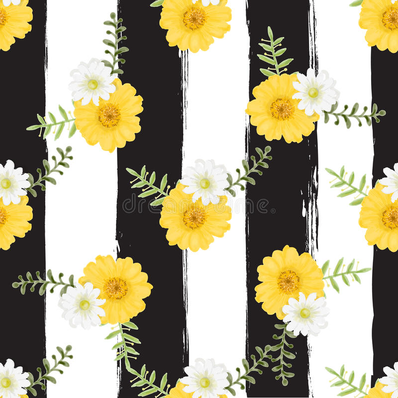 Flowers Tropical Seamless Pattern Watercolor Painting Style on b. Lack and white background stock illustration