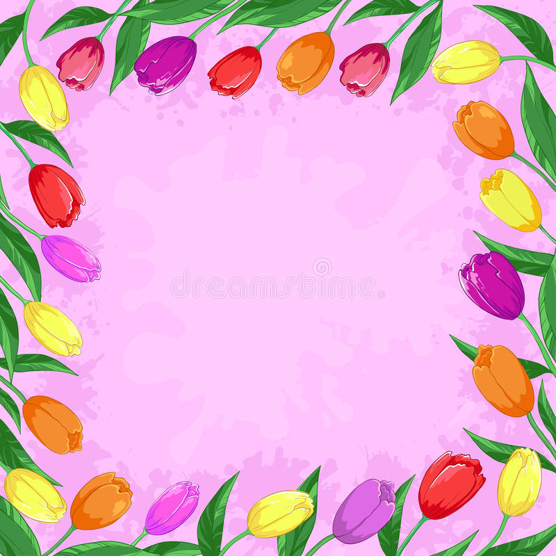 Download Flowers tulips on a pink stock vector. Illustration of garden - 19053154