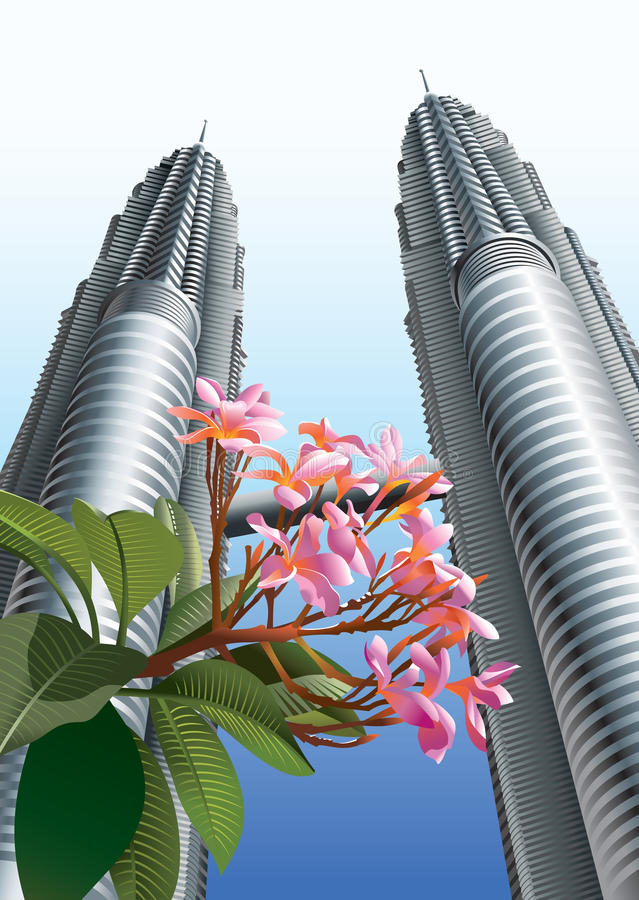 Download Flowers before Twin Towers stock vector. Image of malaysian - 13781380