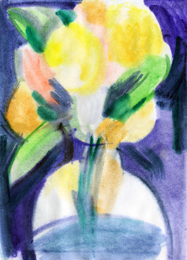Flowers in vase. Watercolors painting royalty free illustration