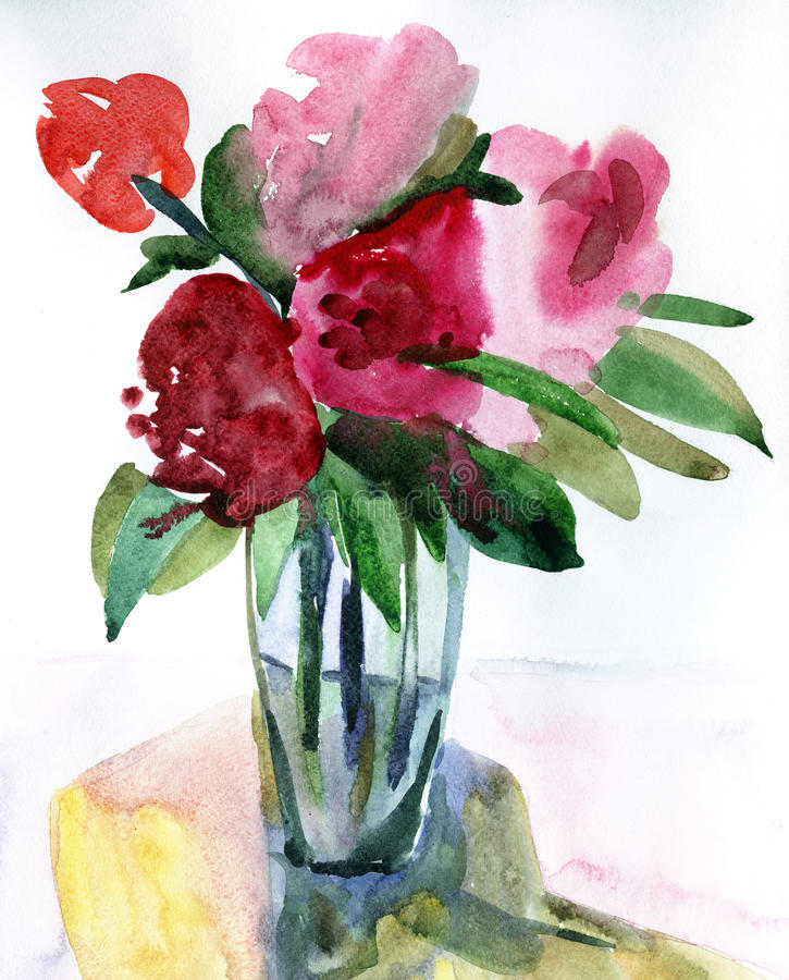 Flowers in a vase. Peony in a vase. Watercolour flowers impression painting in white background royalty free illustration