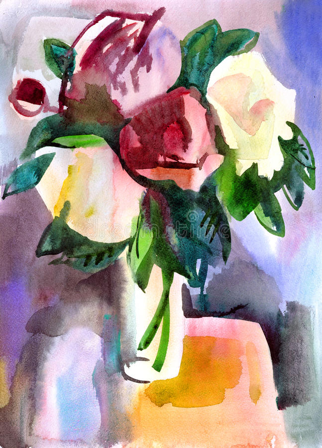 Flowers in a vase. Water colour painting royalty free illustration