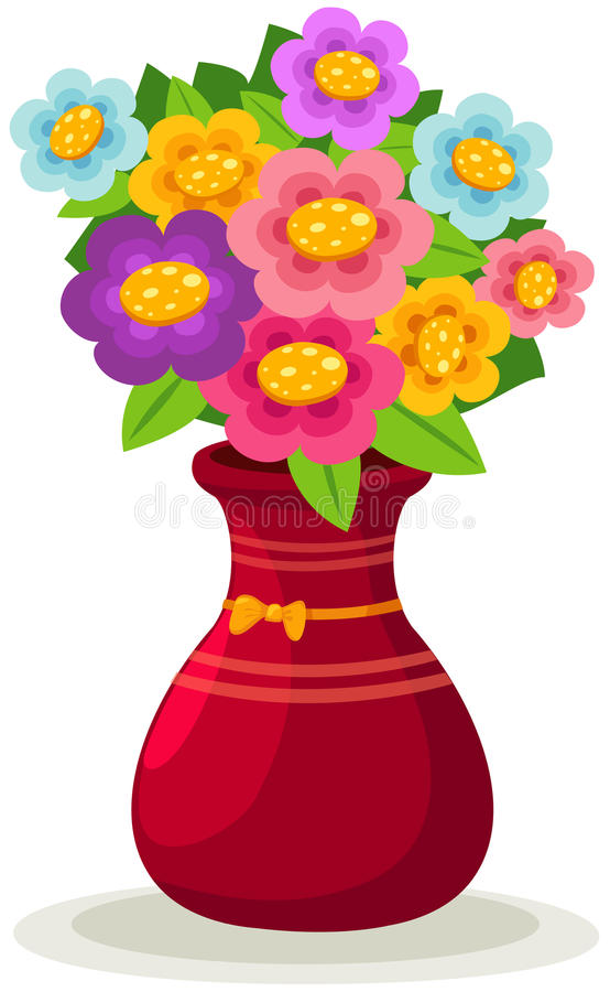 Flowers in vase. Illustration of isolated colorful flowers in vase on white background royalty free illustration