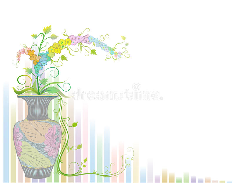 Flowers in vase with ancient pattern royalty free stock photo