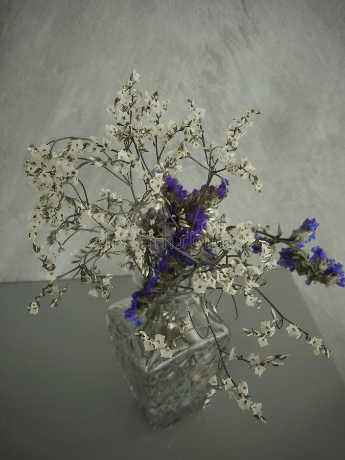 Flowers. With  with   flowers vase flowerontable purpleflower whiteflower royalty free stock photo