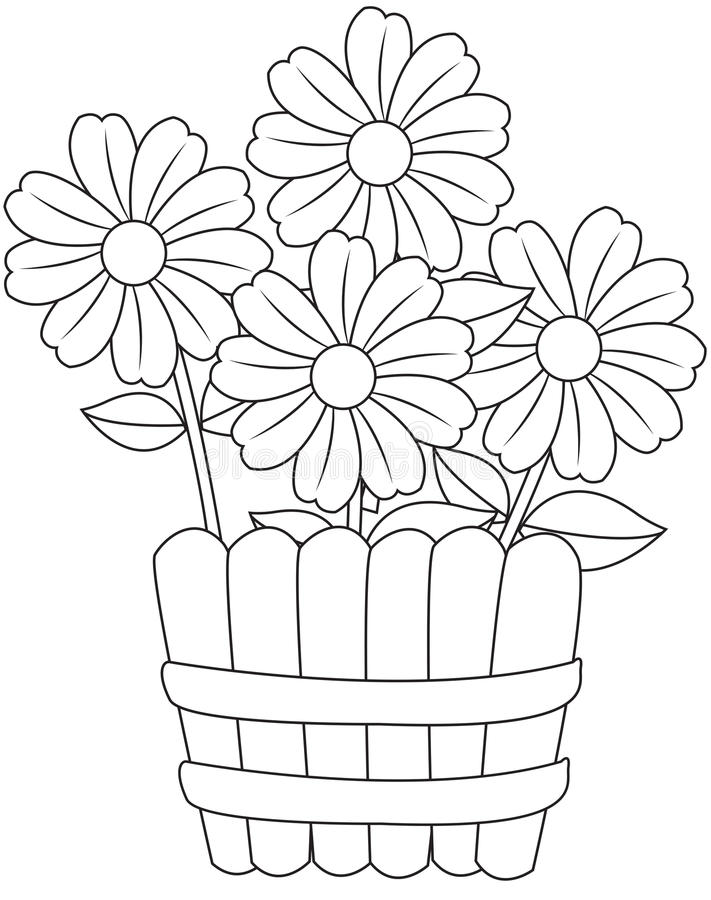 Flowers in a vase. Four flowers in a simple vase royalty free illustration