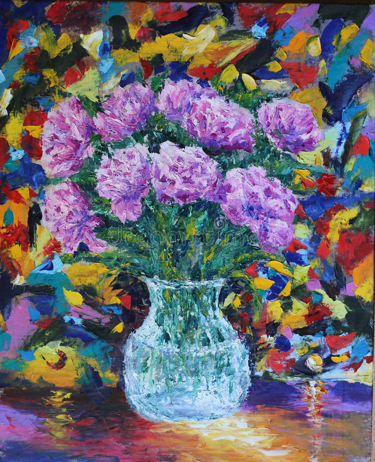 Flowers In A Vase Oil Painting Stock Illustration Illustration Of