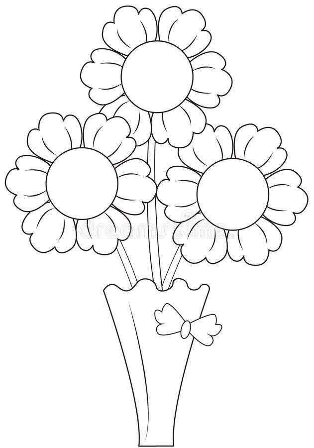 Flowers in Vase. Three flowers in a cute vase royalty free illustration