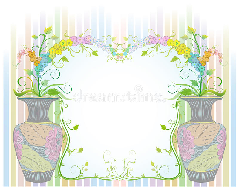 Flowers in vases with ancient pattern royalty free stock image