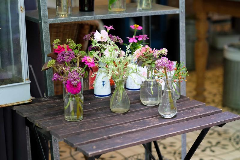 Flowers in the vases stock photos