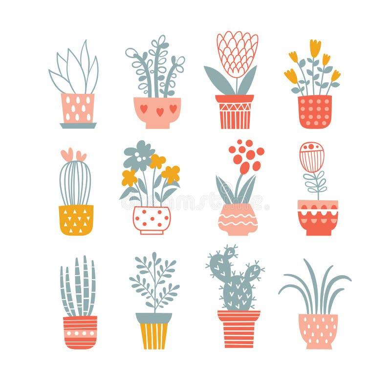 Flowers in vases. royalty free illustration