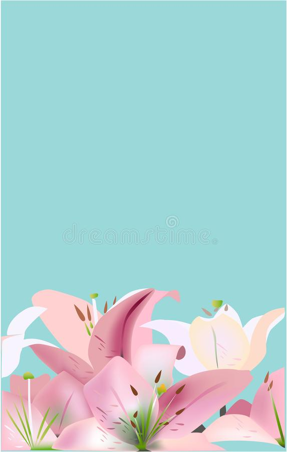 Flowers, vector illustration blue background lily pink royalty free illustration