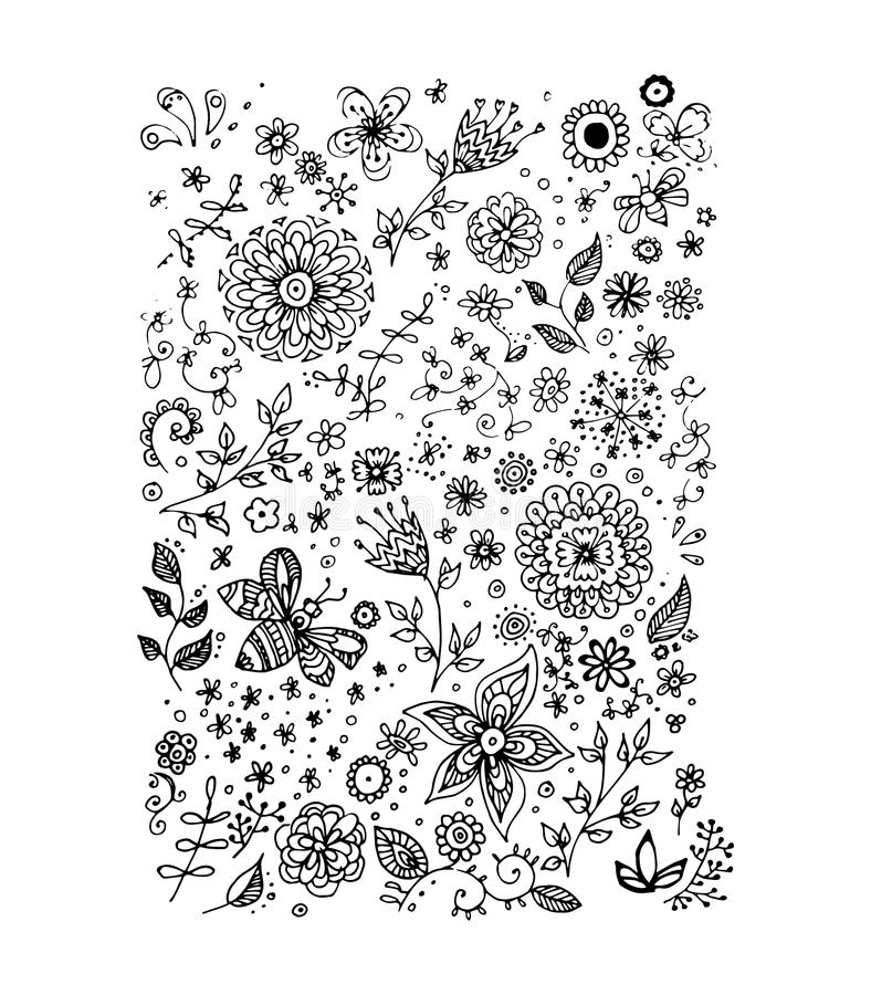 Flowers, vector illustration stock photo