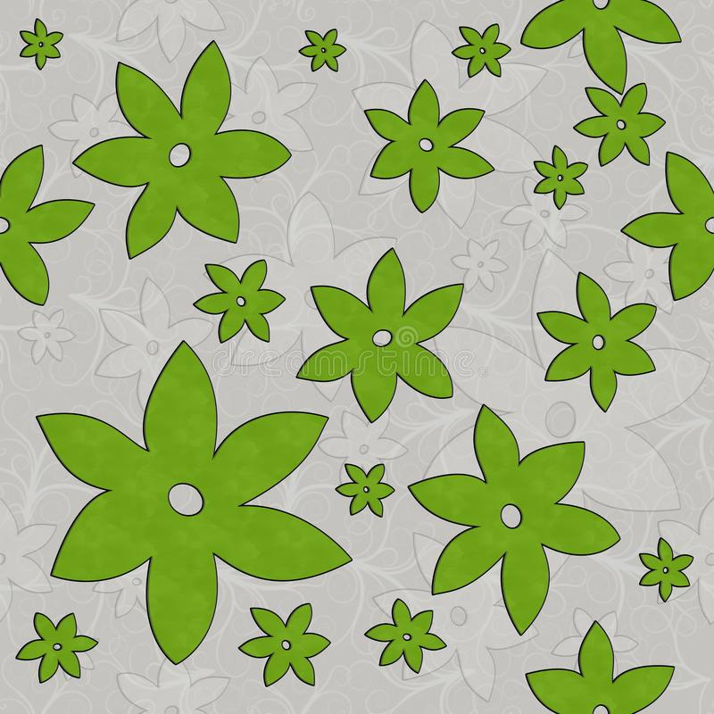 Flowers, Vines, Seamless Pattern in green and white vector illustration