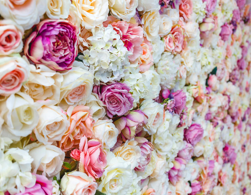 Flowers wall background with amazing red and white roses, Wedding decoration,. Hand made stock photos