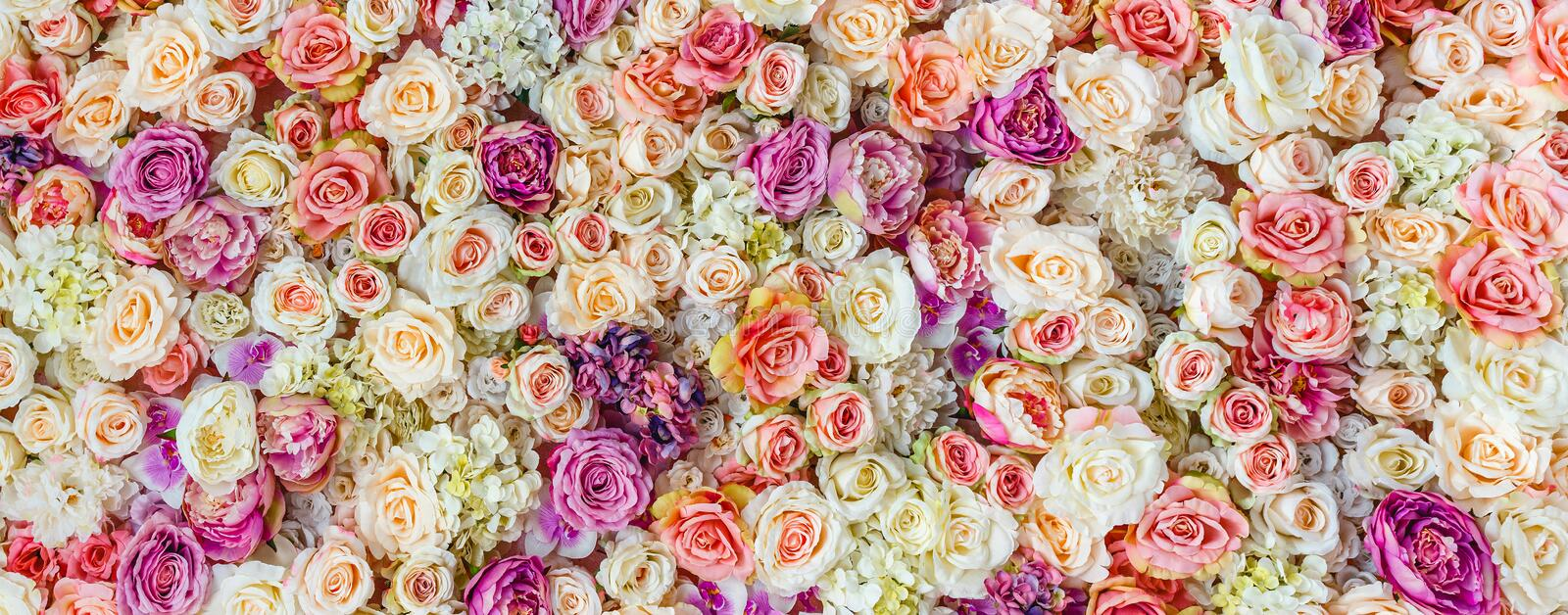 Flowers wall background with amazing red and white roses, Wedding decoration. Hand made stock image