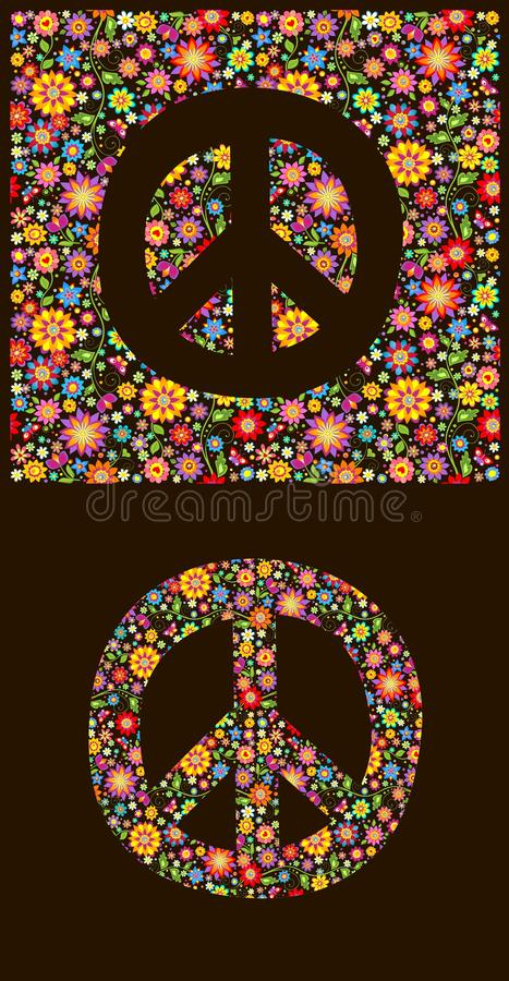 Flowers Wallpaper With Peace Symbol Stock Vector Illustration Of