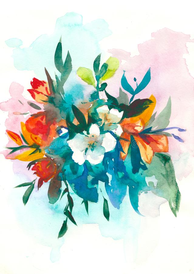 Decorative watercolor flowers. floral illustration, Leaf and buds. Botanic composition for wedding or greeting card royalty free illustration