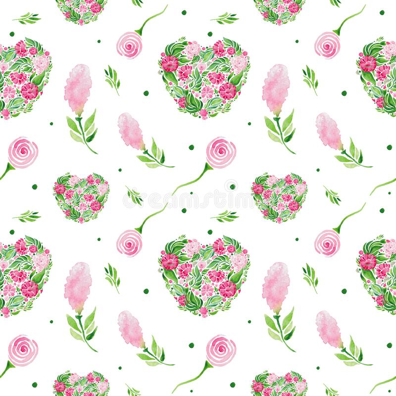 Flowers watercolor illustration pattern seamless. Set of Red flowers and green leaves on white background stock illustration