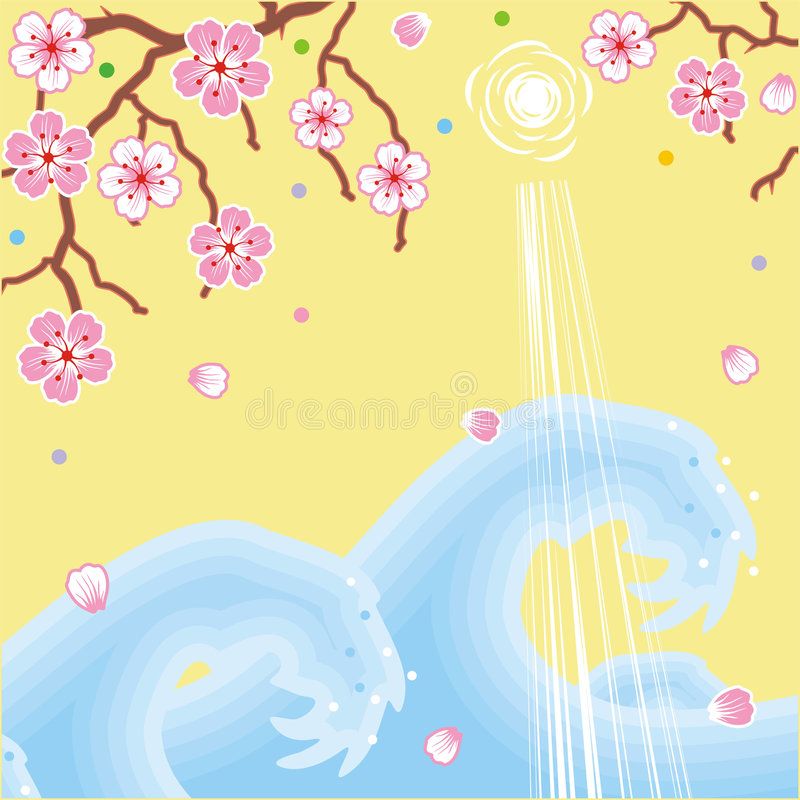 Flowers and waves spring background stock image