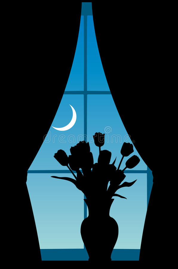 Flowers at a window stock illustration