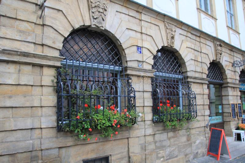 Flowers on the windows with metal bars stock photos