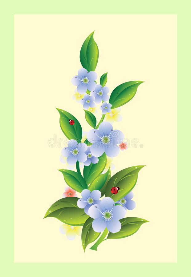 Free Flowers With Ladybirds Royalty Free Stock Photo - 9272355