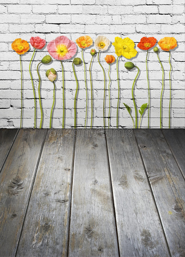 Flowers Wood Brick Wall Background stock image