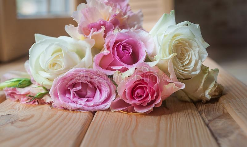 Flowers on a wooden background royalty free stock image