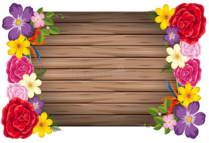 Flowers wooden frame concept. Illustration vector illustration