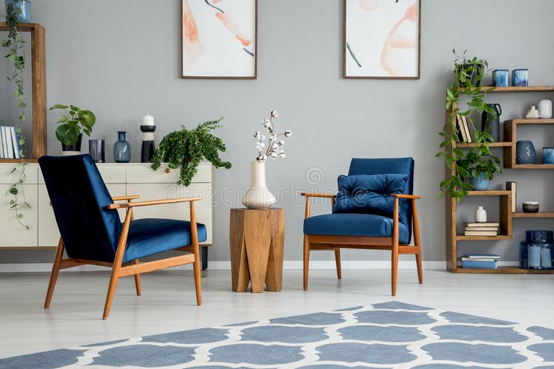 Flowers on wooden table between blue armchairs in grey flat interior with carpet and posters. Real photo. Concept stock image