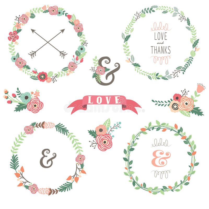 Flowers Wreath Collections. A Vector Illustration of Flowers Wreath Collections vector illustration