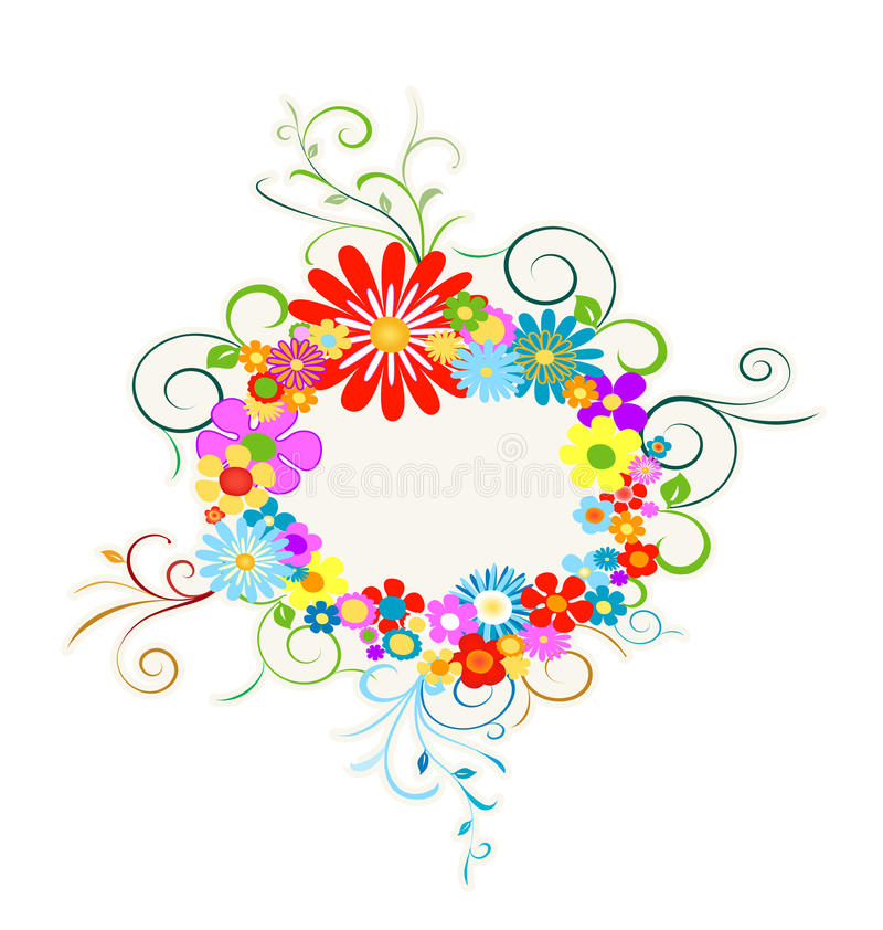 Flowers wreath. Colorful flowers wreath with space for text stock illustration
