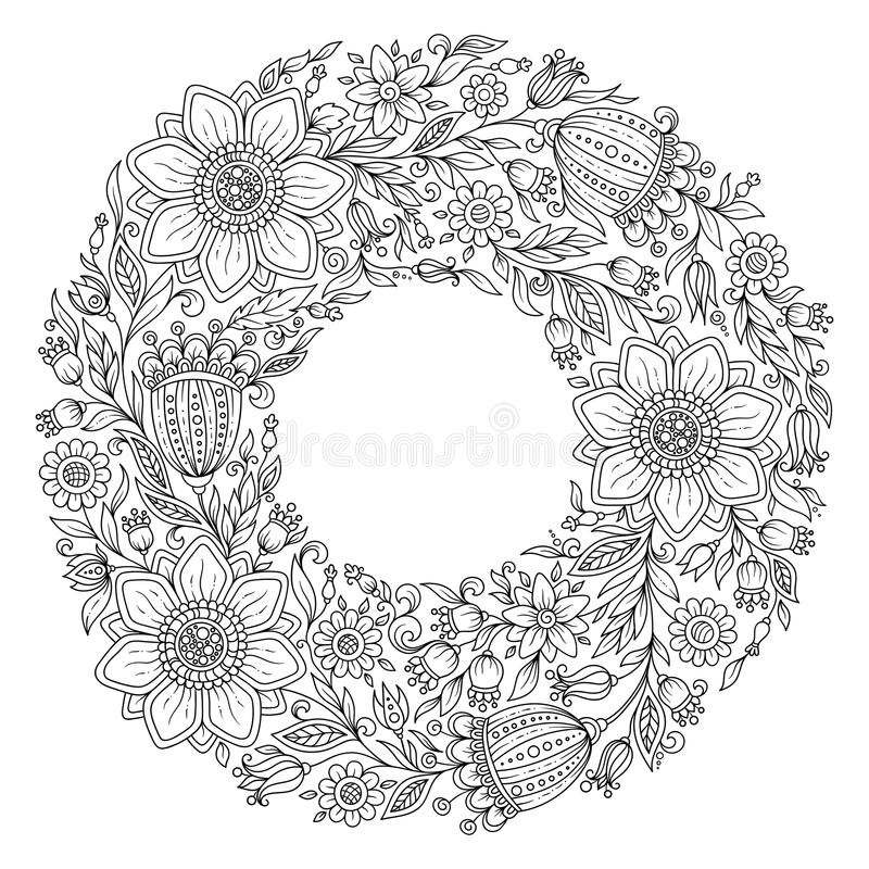 Flowers Wreath Coloring Book Page For Adult Stock