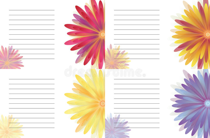 Flowers Yellow of notes. Flowers Daisy of and Illustrations vector illustration