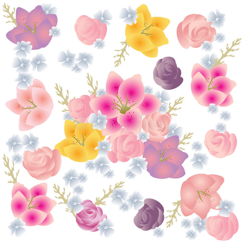 Flowers yellow pink blue pattern white background royalty free stock image