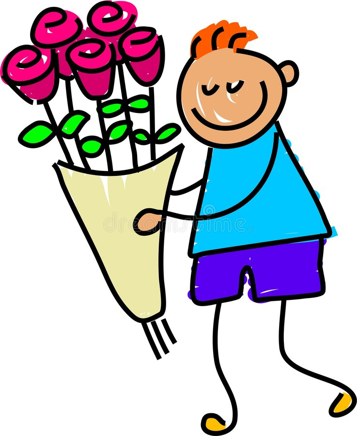 Flowers for you. Little boy delivering a bouquet of flowers - toddler art series