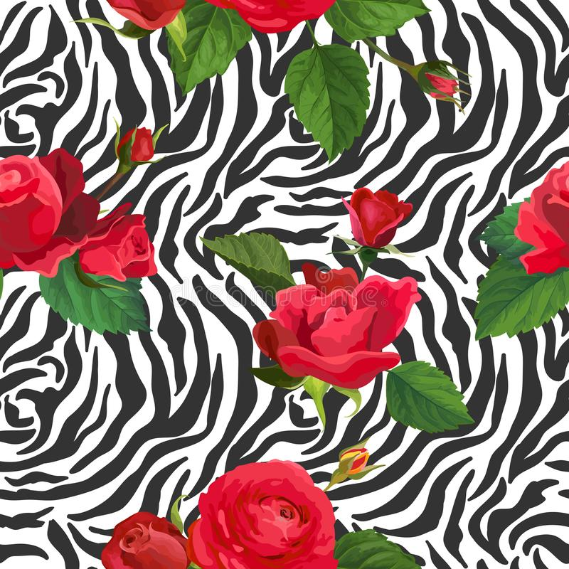 Flowers and Zebra Skin Seamless Pattern. Animal Fabric Background with Floral Elements Fashion Print Design for Wallpaper. Textile. Vector illustration vector illustration