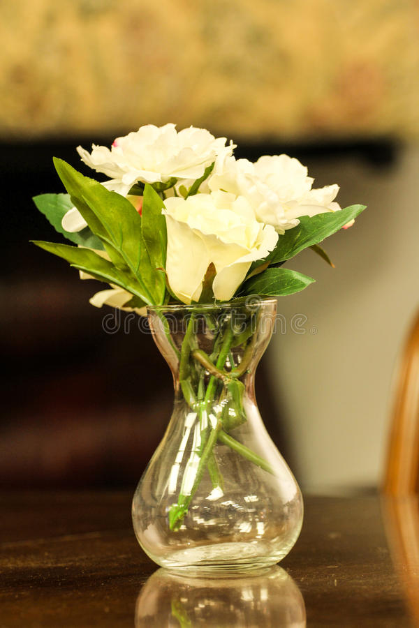 Flowerwas. White rose flower crystal clear pot stock photos