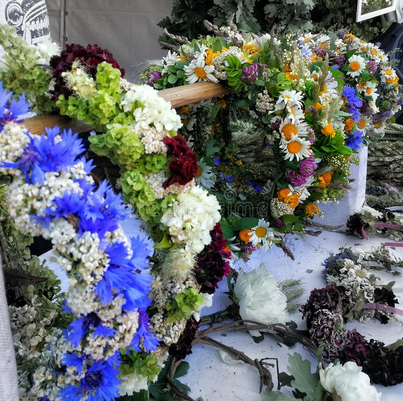 Flower wreaths. Flowerwreaths on Ligo royalty free stock photos