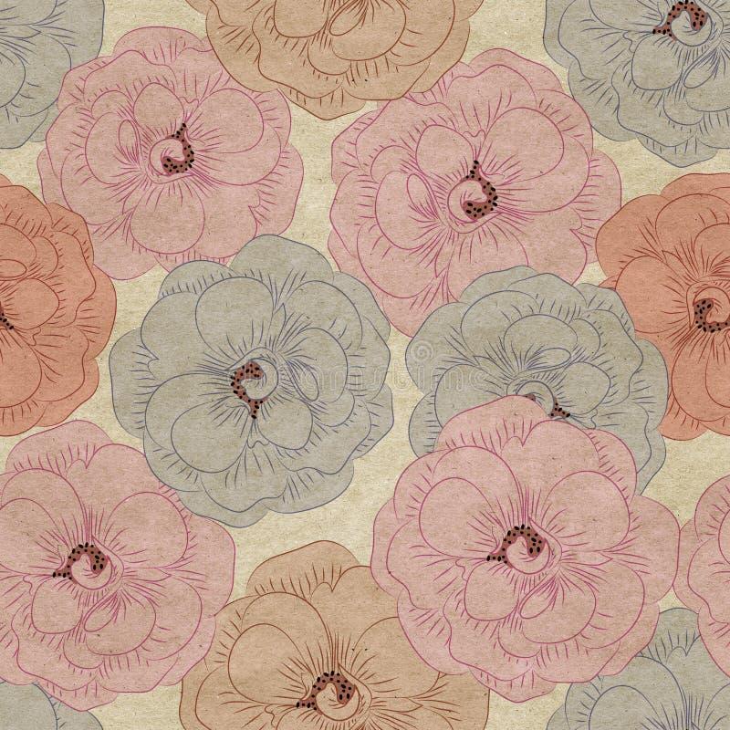 Flowery ανασκόπηση ταπετσαριών διανυσματική απεικόνιση